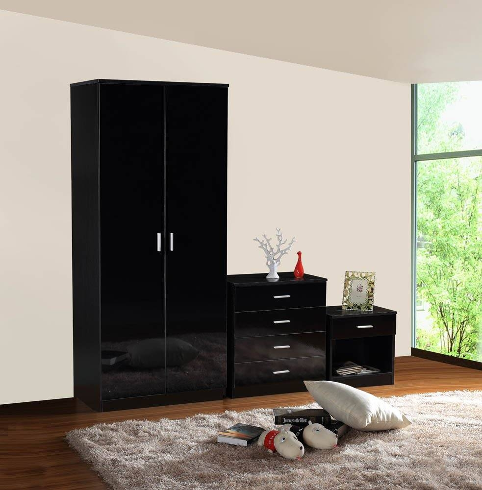 Gladini Black High Gloss 3 Piece Bedroom Furniture Set - Wardrobe pertaining to Black High Gloss Wardrobes (Image 7 of 15)