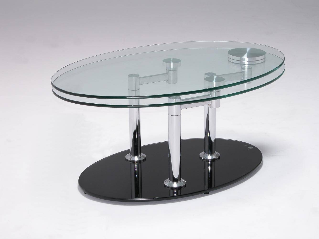 Glamorous Glass Coffee Table Design Charming Chrome Table Legs inside Oval Shaped Glass Coffee Tables (Image 17 of 30)