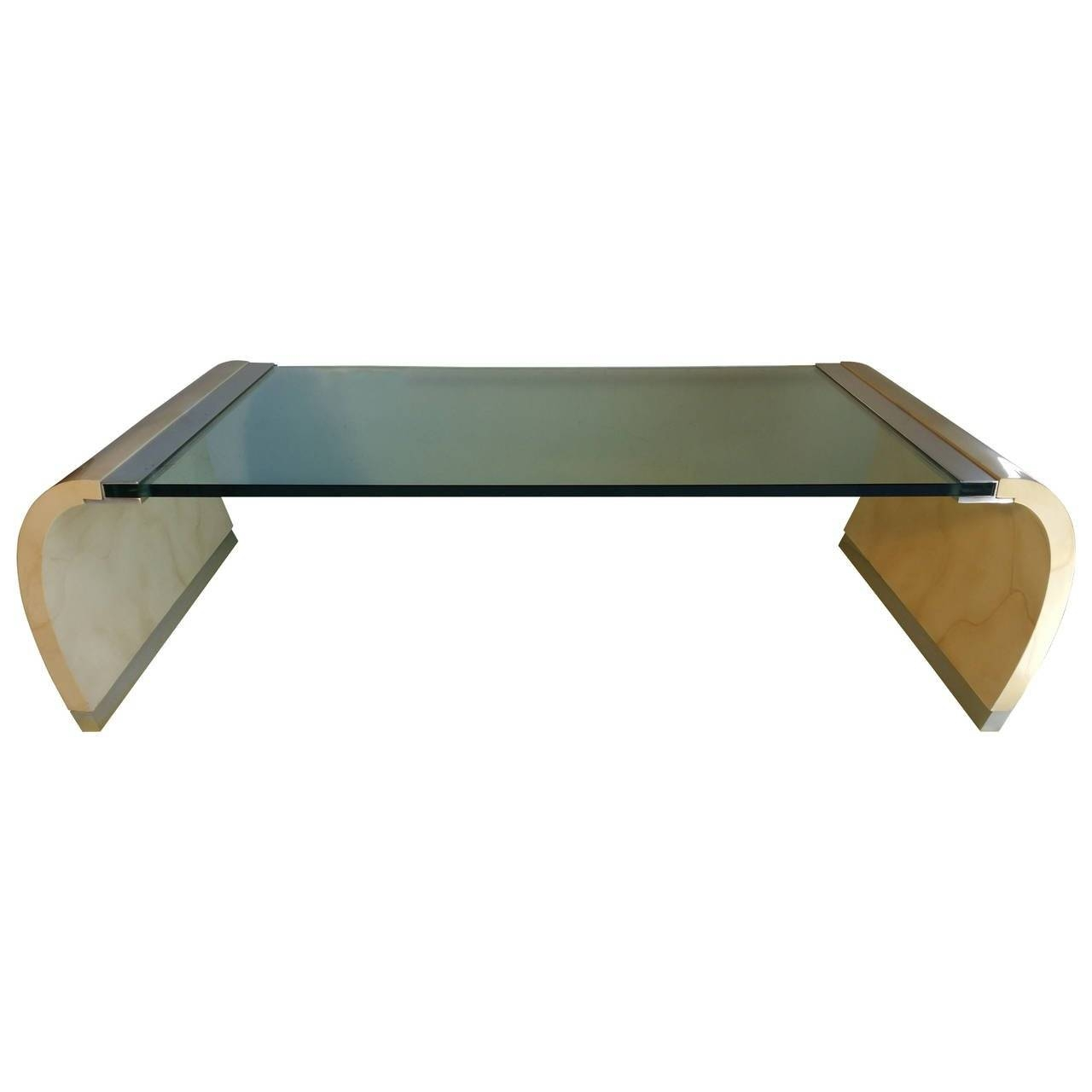 Glass And Lacquer Waterfall Coffee Table In The Manner Of Karl throughout Lacquer Coffee Tables (Image 14 of 30)