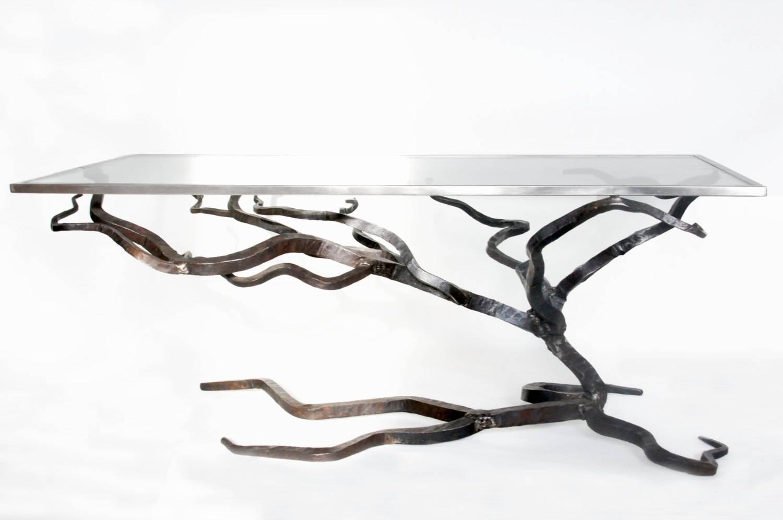 Glass And Metal Coffee Table Forged Sofa Table Blacksmiths Inside Metal Glass Sofa Tables (Photo 2 of 30)