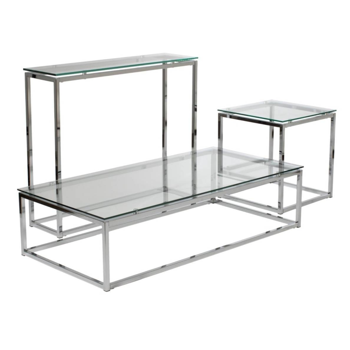Glass Chrome Coffee Table Rectangle | Nucleus Home inside Rectangle Glass Chrome Coffee Tables (Image 25 of 30)