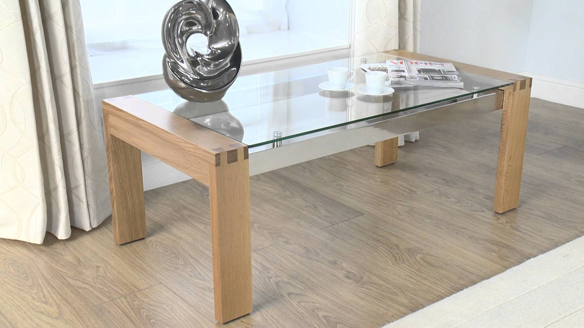 Glass Coffee Table: Cannes Glass/oak Coffee Table - Youtube throughout Glass And Oak Coffee Tables (Image 19 of 30)