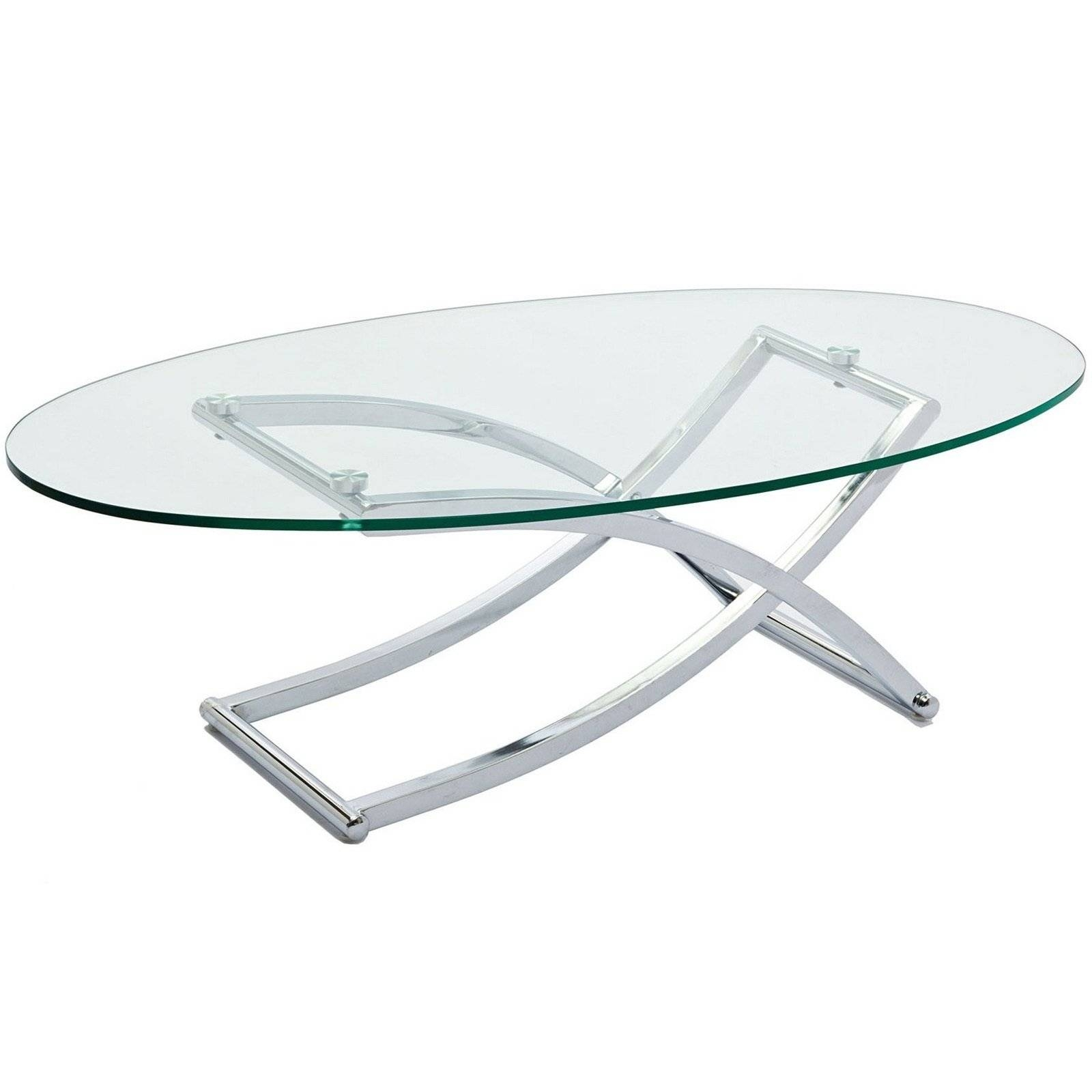 Glass Coffee Table Criss Cross Oval Glass Top Coffee Table Coffee throughout Oval Glass Coffee Tables (Image 16 of 30)