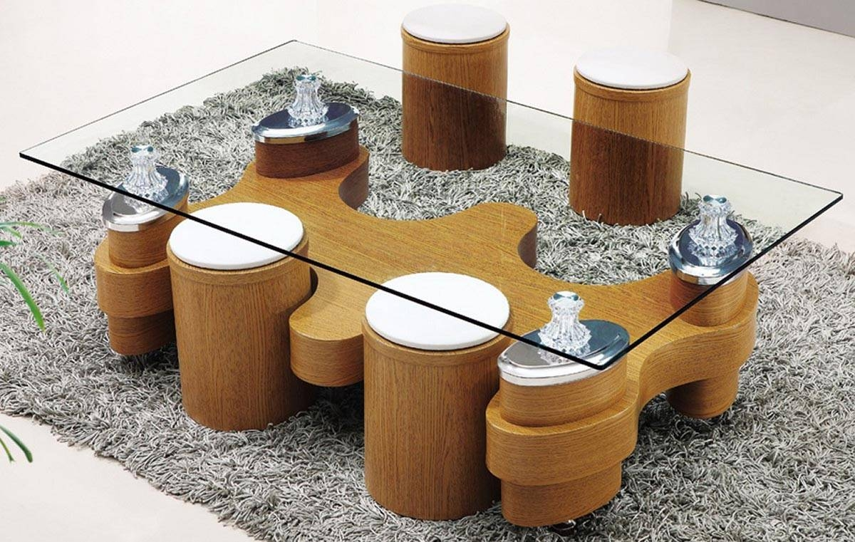 Glass Coffee Table With Stools Underneath | Coffee Table Design Ideas Inside Coffee Table With Stools (View 24 of 30)