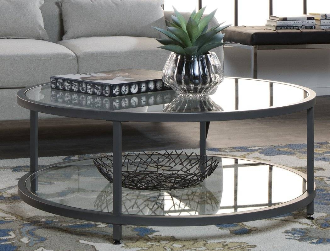 Glass Coffee Tables You'll Love | Wayfair With Regard To Clock Coffee Tables Round Shaped (View 19 of 30)