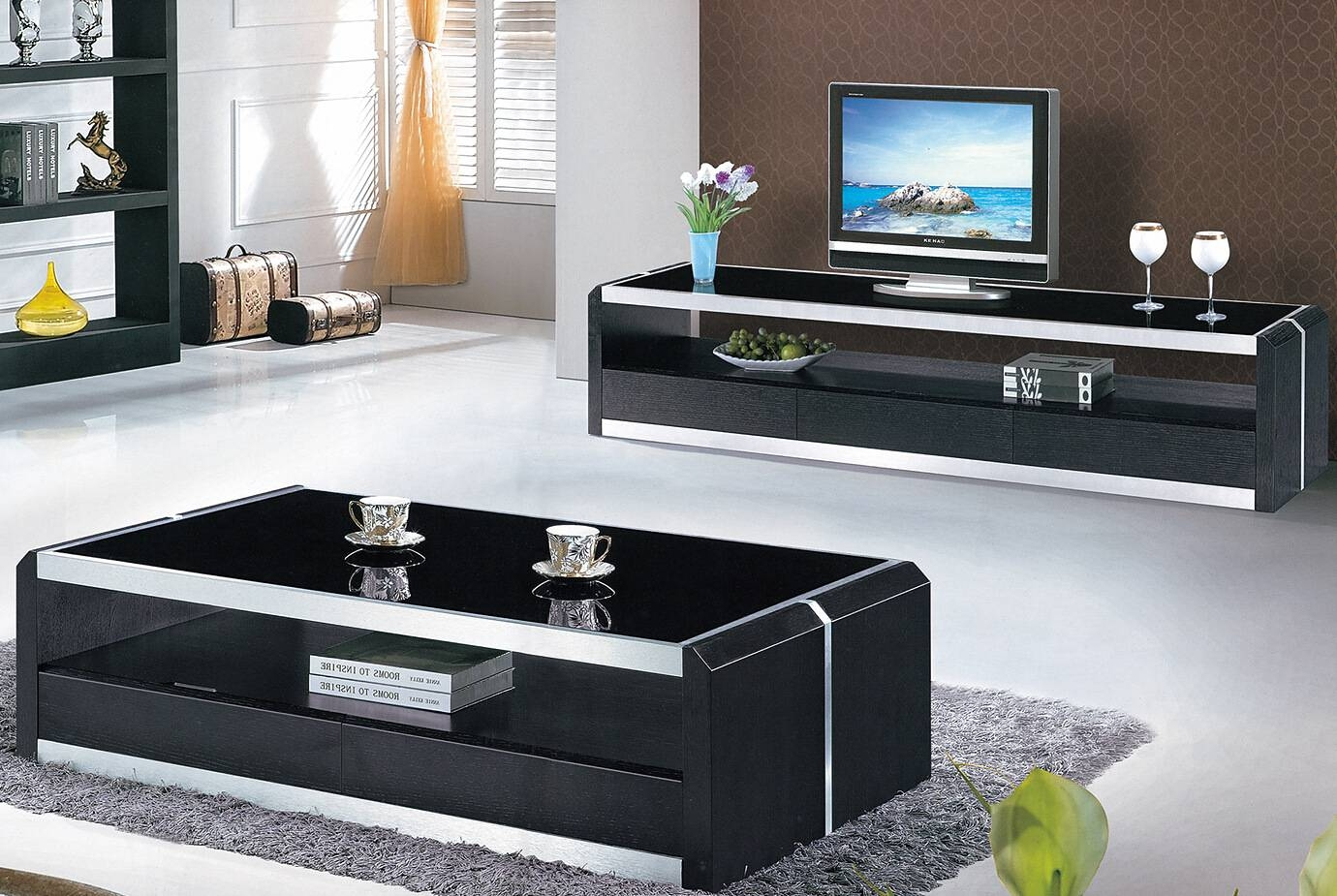 Glass Living Room Furniture Living Room Design And Living Room Ideas within Tv Unit and Coffee Table Sets (Image 14 of 30)