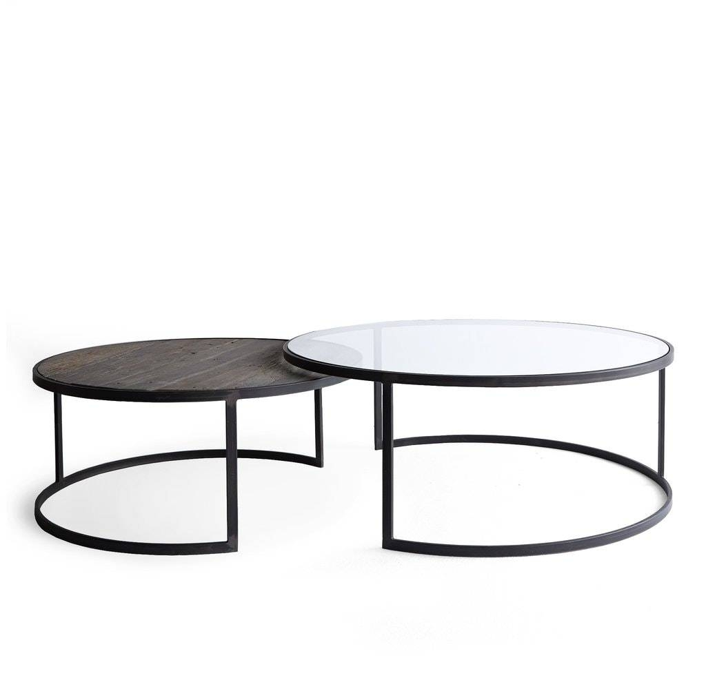 Glass : Marion Nesting Round Coffee Table Home Zone Furniture in Nest Coffee Tables (Image 12 of 30)