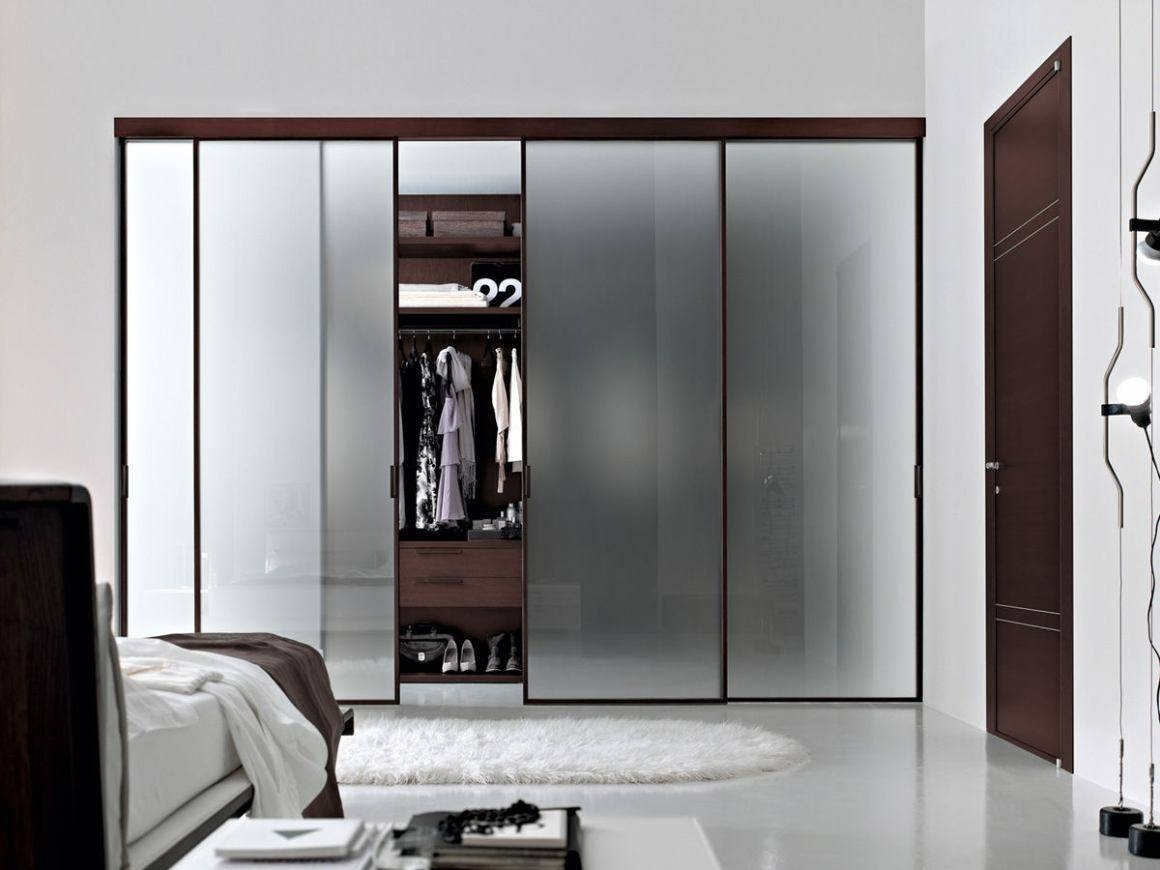 Glass Sliding Wardrobe Doors With Minimalist Style : Home Design for Dark Wood Wardrobe Doors (Image 15 of 30)