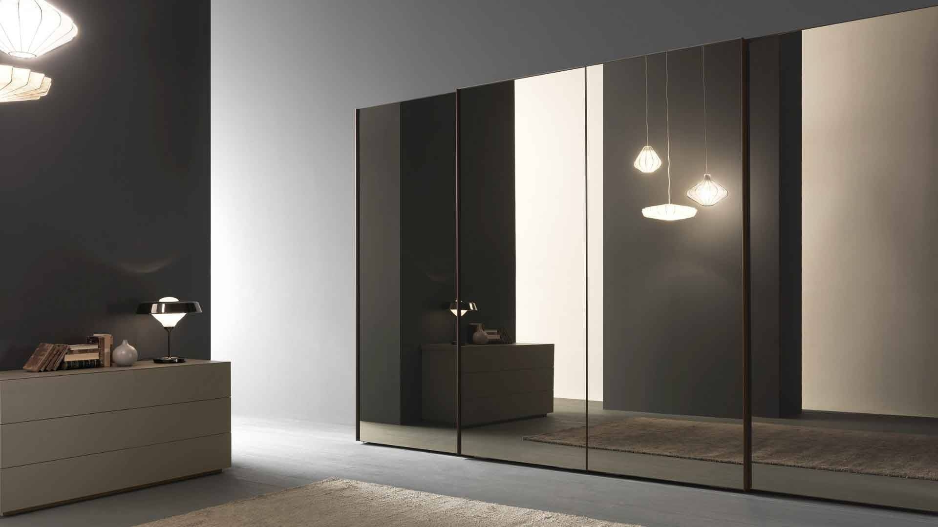 Glass Sliding Wardrobe Doors With Minimalist Style : Home Design With Dark Wood Wardrobe With Mirror (View 20 of 30)