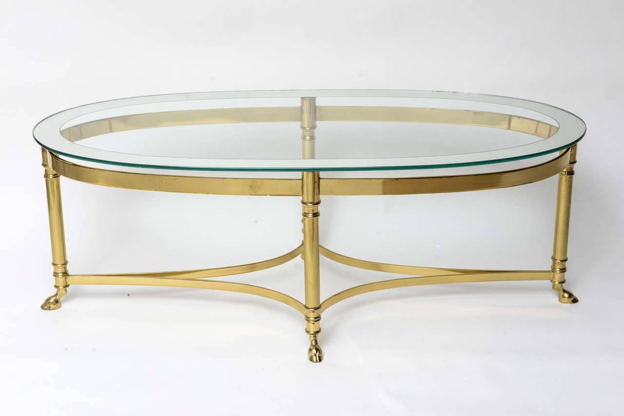 Glass Top Oval Mirrored Coffee Table With Brass Frame And Legs On throughout Small Mirrored Coffee Tables (Image 15 of 30)