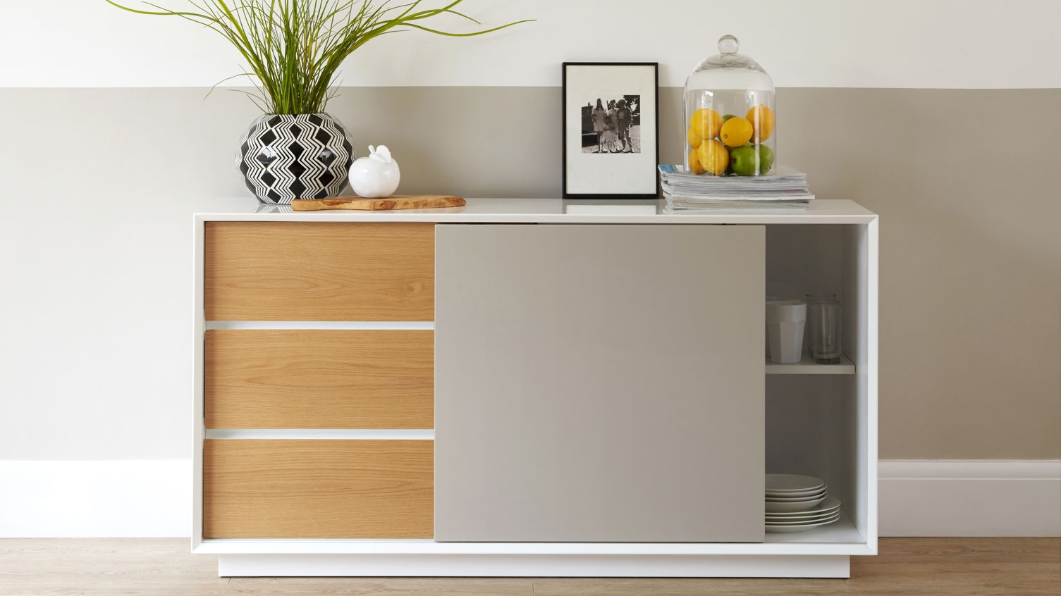 Glide Sideboard In White Gloss With Grey And Oak In Danetti with regard to Grey Gloss Sideboards (Image 12 of 30)