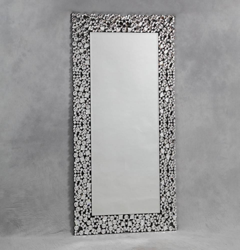 Glitz Diamond Border Rectangular Venetian Wall Mirror 180 X 90 Cm pertaining to Glitzy Mirrors (Image 20 of 25)