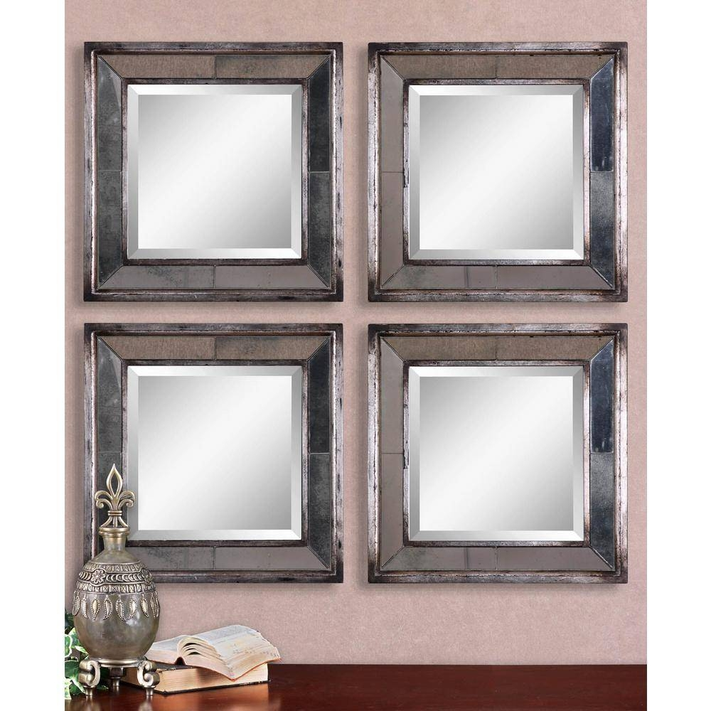 Global Direct 18 In. X 18 In. Silver Leaf Square Framed Mirrors intended for Silver Mirrors (Image 8 of 25)