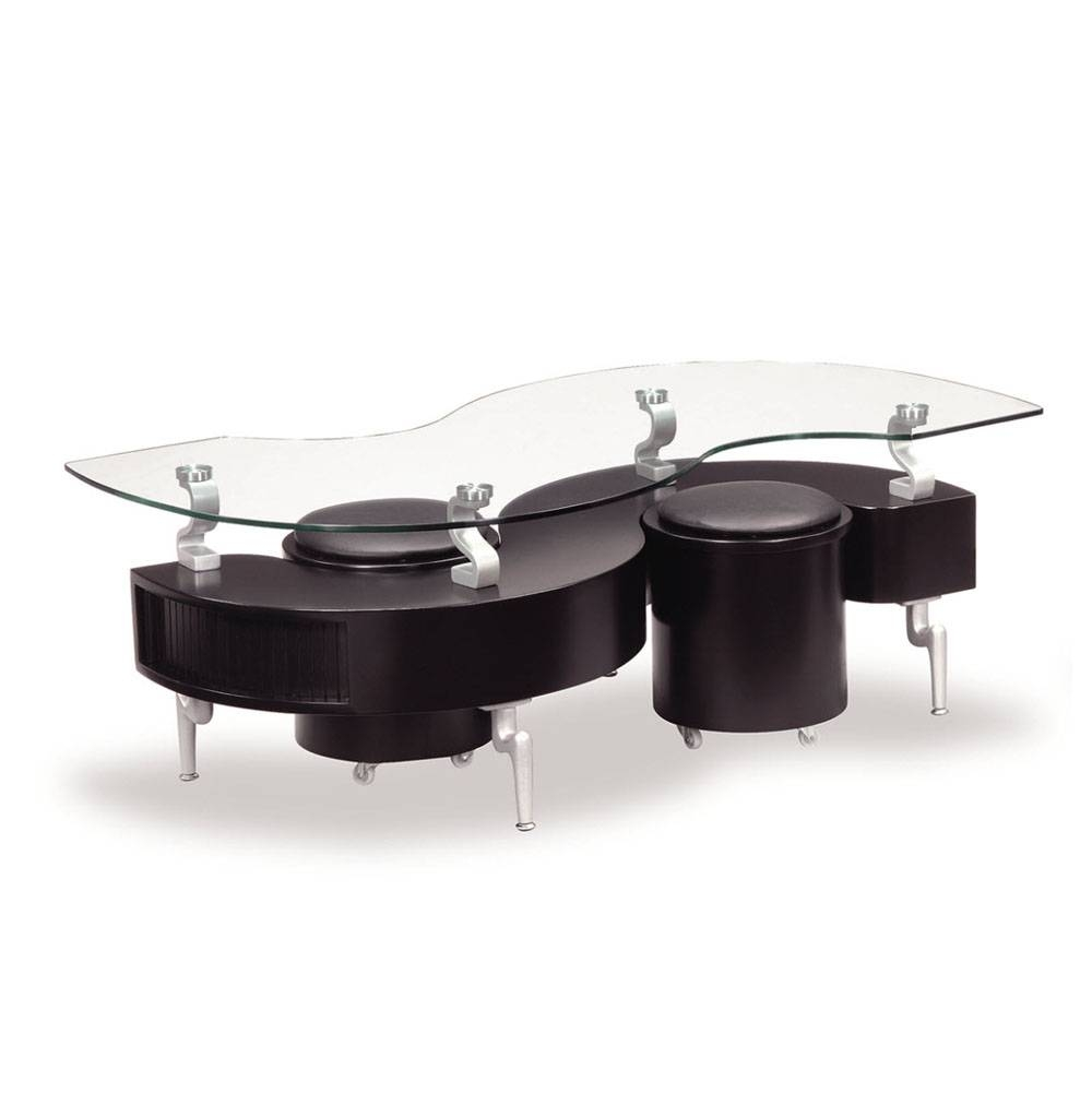 Global T288 2 Piece Coffee Table Set In Black W/ Black Stools intended for 2 Piece Coffee Table Sets (Image 18 of 30)