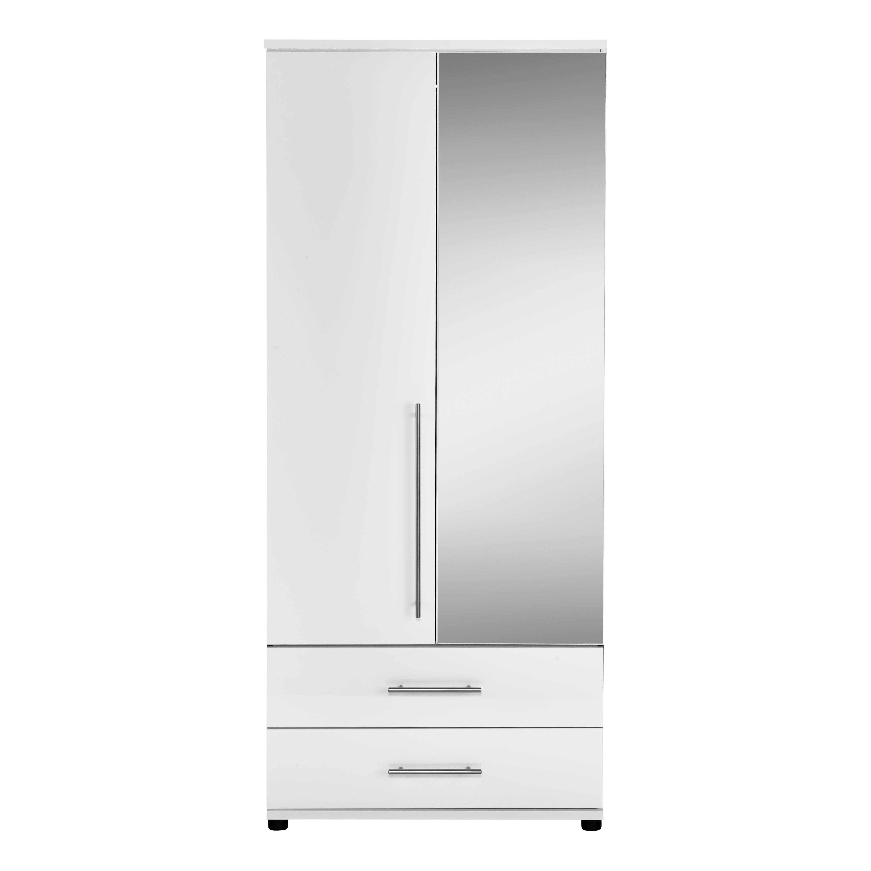 Gloss 2 Door 2 Drawer Mirrored Wardrobe | Contemporary Bedroom inside White 2 Door Wardrobes With Drawers (Image 5 of 15)