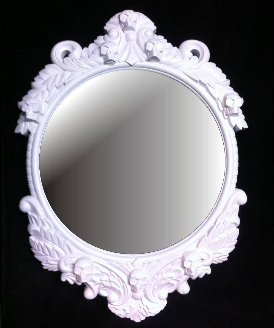 Gloss White Skull Round Frame Mirror Shabby Chic Baroque Gothic With Regard To Shabby Chic Round Mirrors (View 15 of 25)