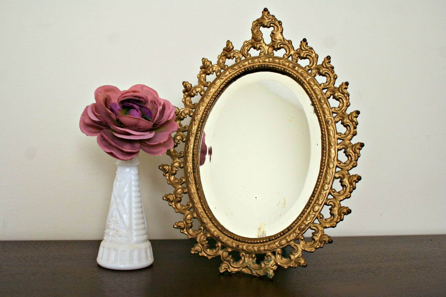 Gold Baroque Table Mirror Ornate Vanity Mirrormyoliviavintage in Gold Table Mirrors (Image 12 of 25)