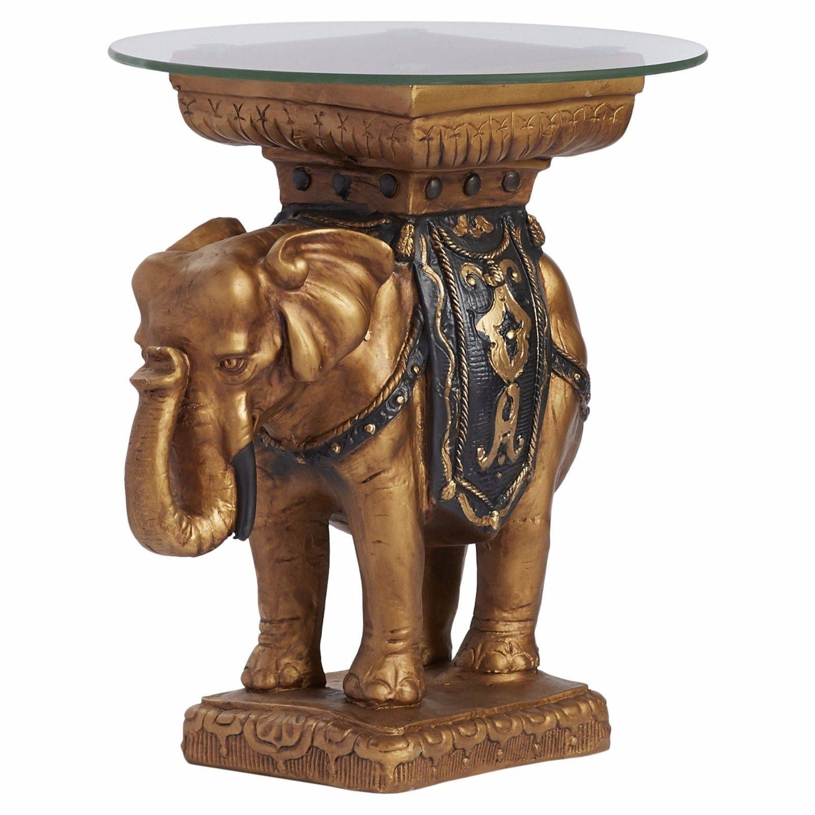 Gold Elephant Side End Table Furniture Living Room Round Glass within Elephant Glass Coffee Tables (Image 17 of 30)