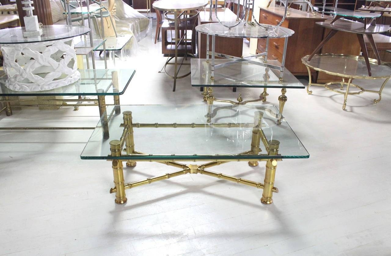 Gold Leaf Faux Bamboo Base Coffee Table With Thick Glass Top For regarding Gold Bamboo Coffee Tables (Image 27 of 30)