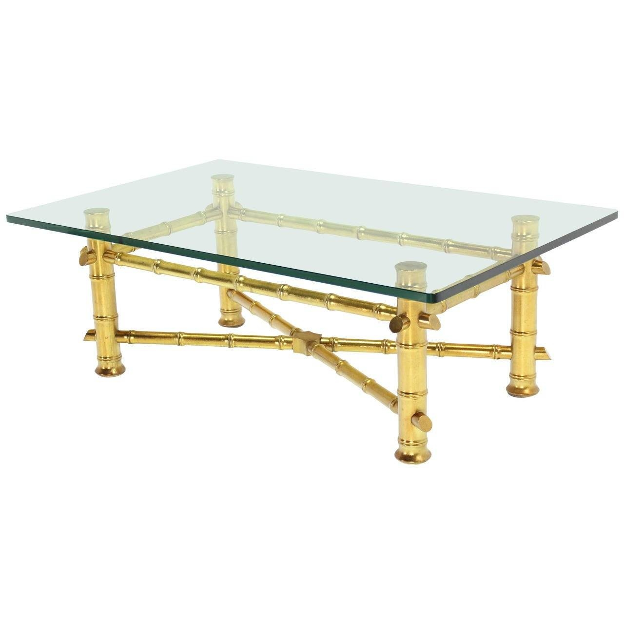 Gold Leaf Faux Bamboo Base Coffee Table With Thick Glass Top For within Gold Bamboo Coffee Tables (Image 28 of 30)