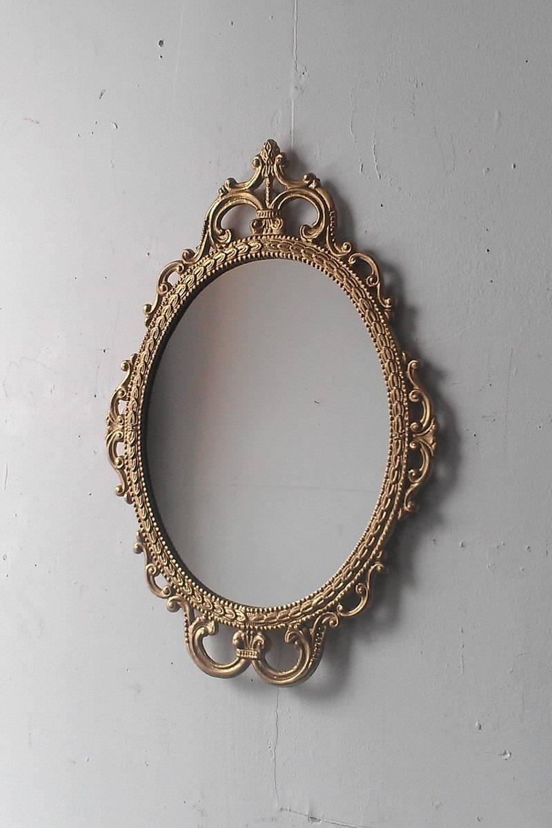 Gold Mirror In Vintage Oval Frame Small Bathroom Wall Mirror inside Antique Mirrors Vintage Mirrors (Image 18 of 25)