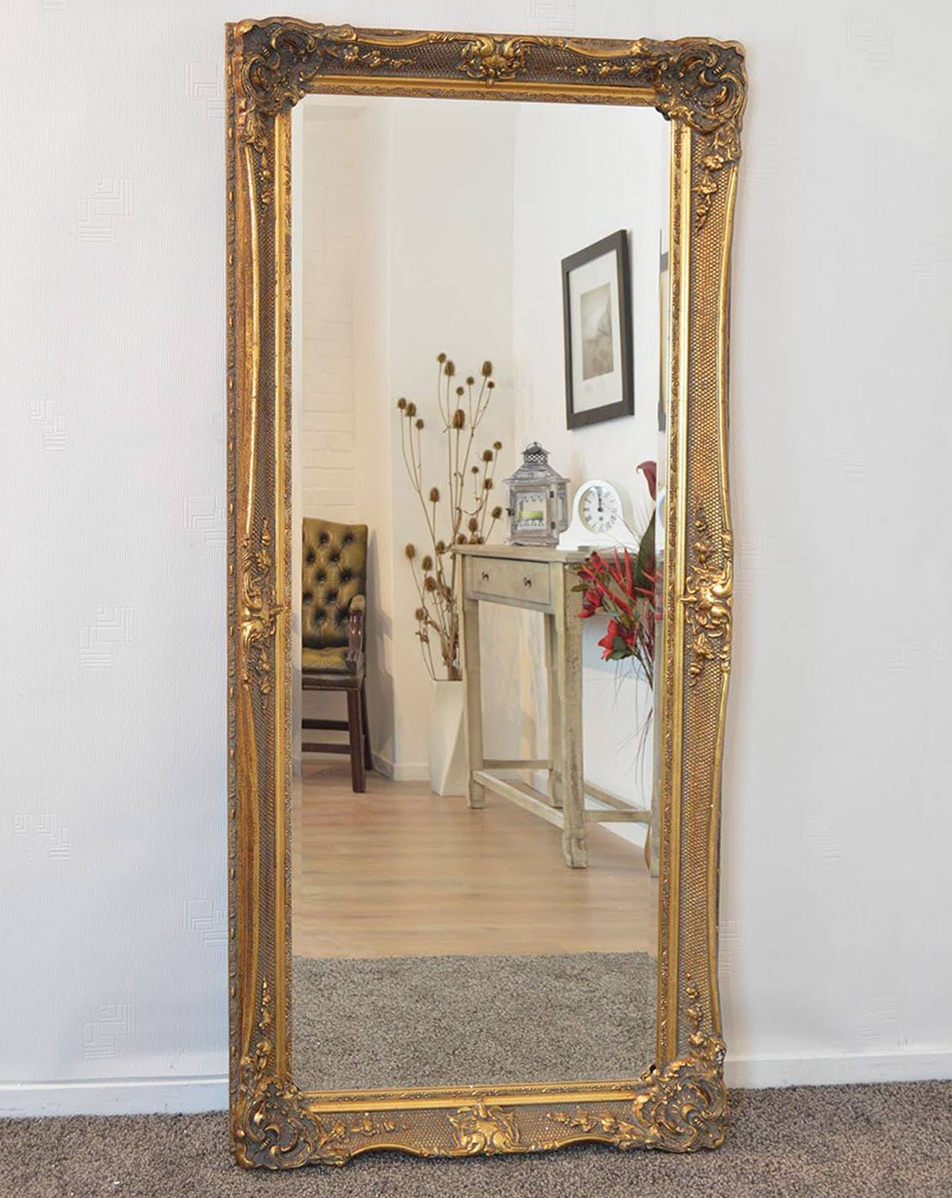 Gold Ornate Full Length Mirror 81Cm X 173Cm | Large Mirrors pertaining to Ornate Full Length Mirrors (Image 20 of 25)
