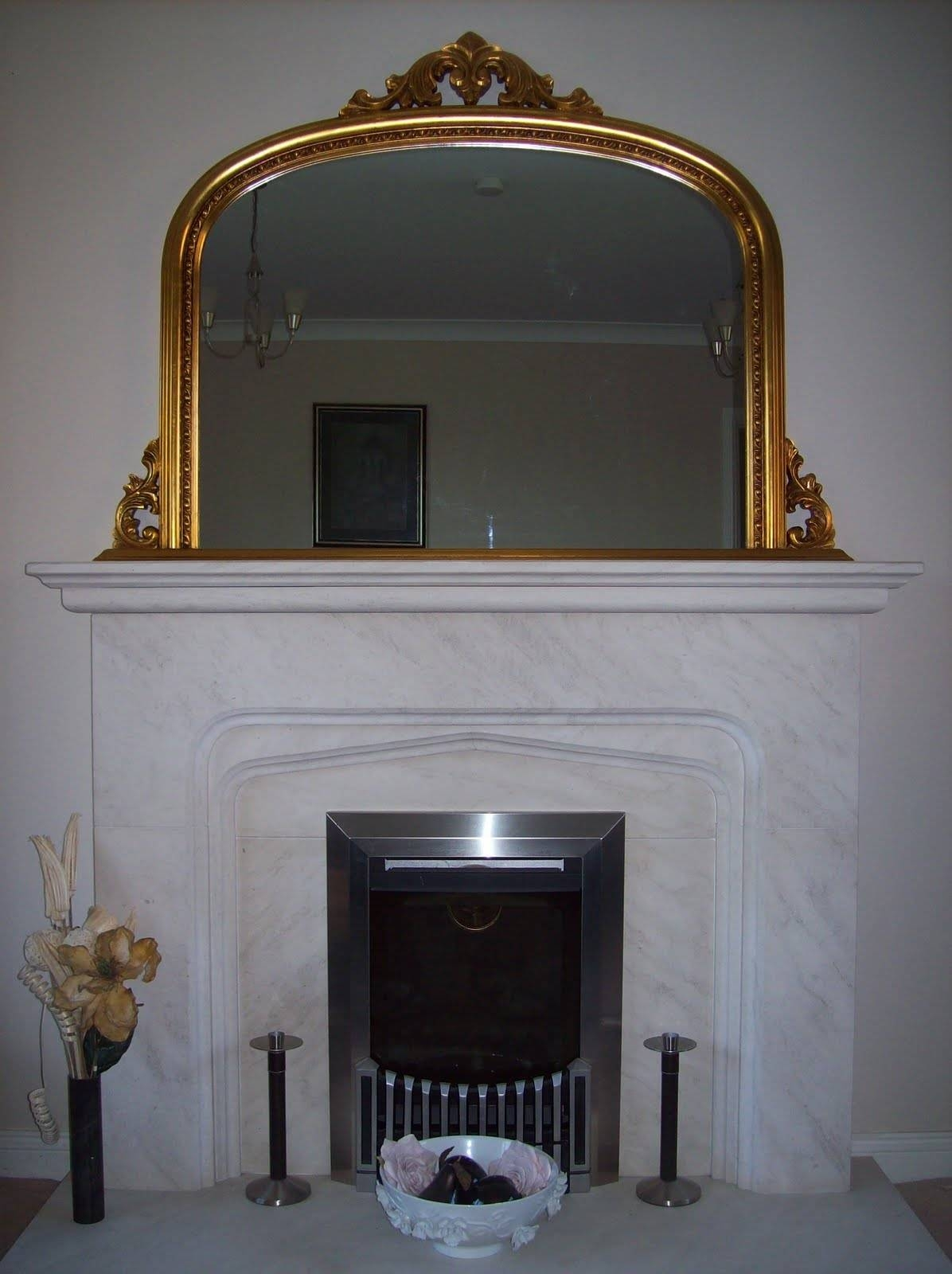 Gold Ornate Overmantle Mirror pertaining to Vintage Overmantle Mirrors (Image 12 of 25)