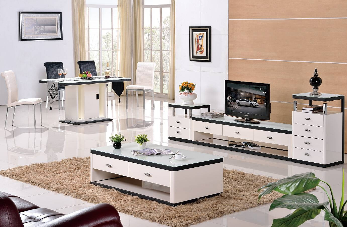 Grade Stainless Steel Paint Glass Coffee Table Tv Cabinet Fashion within Tv Cabinets And Coffee Table Sets (Image 11 of 15)