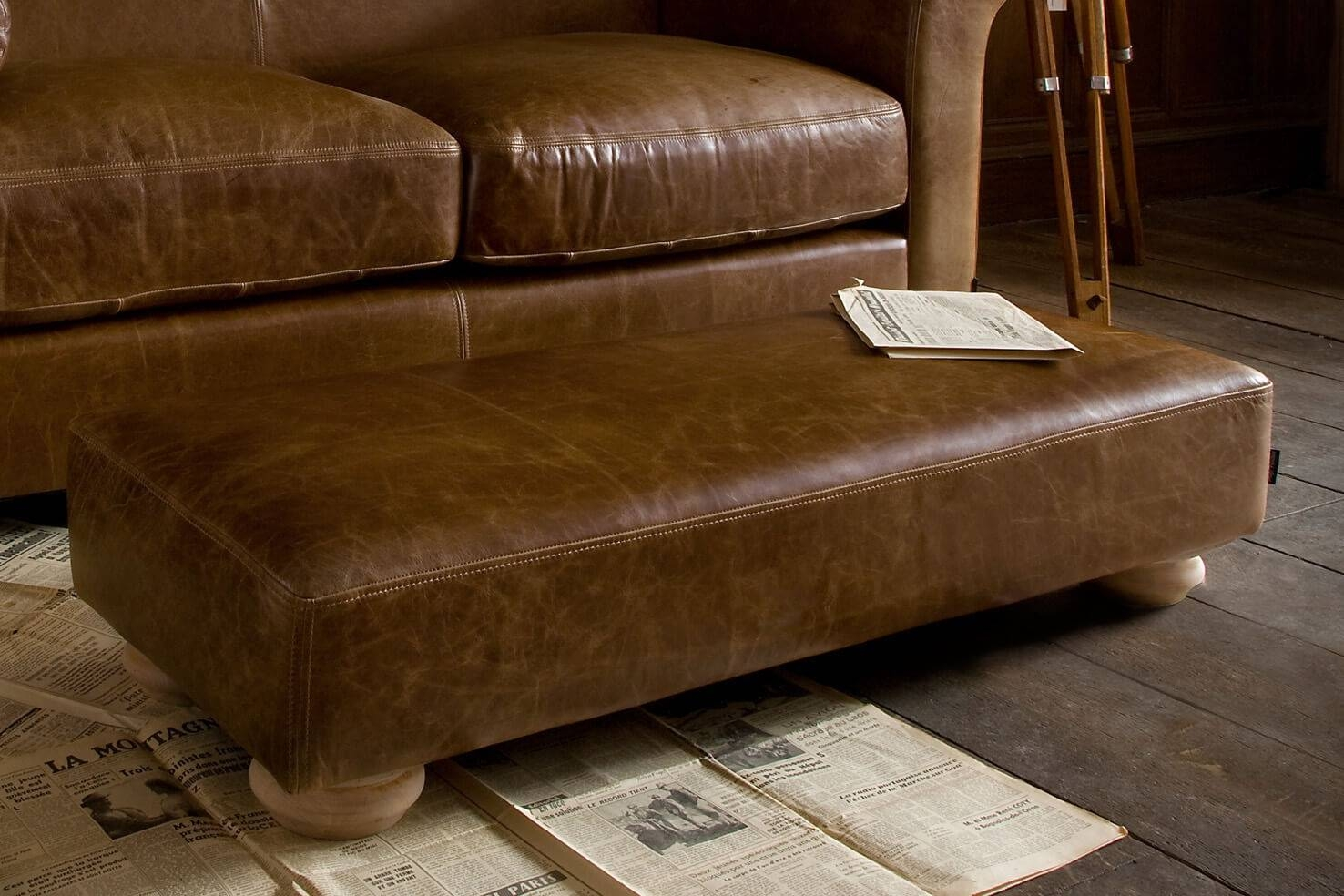 Grandad Leather Footstool, Handcraftedindigo Furniture within Leather Footstools (Image 12 of 30)