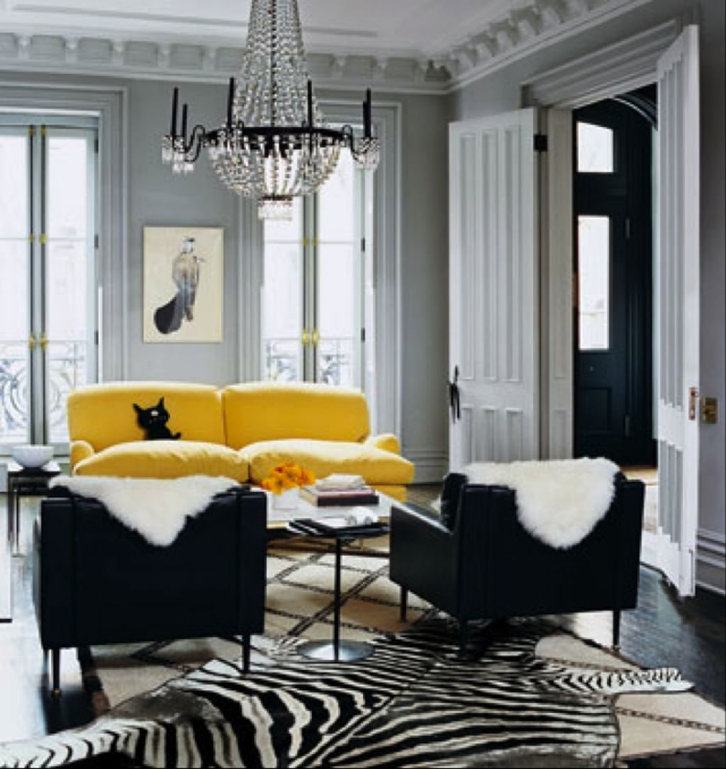 Gray Living Room With Yellow Sofa And Black Side Chairs - Popular inside Yellow Sofa Chairs (Image 17 of 30)