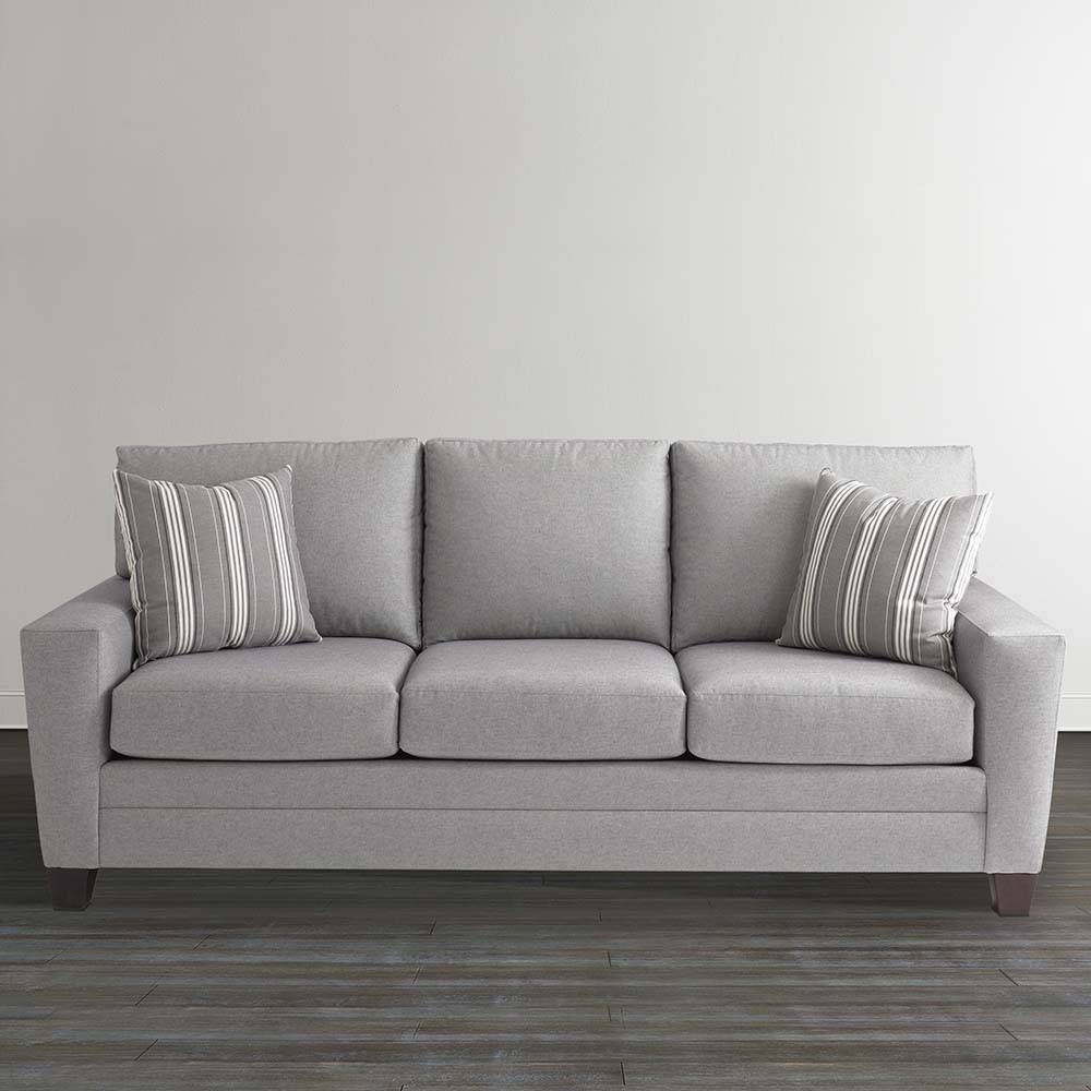 Gray Plaid Upholstered Sleeper Sofa intended for Bassett Sofa Bed (Image 9 of 30)