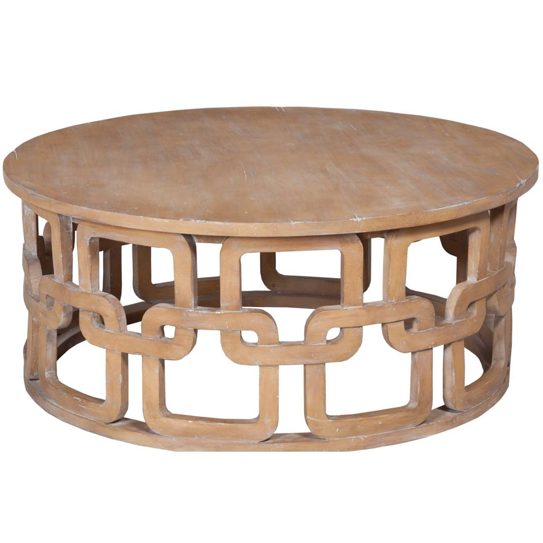 Gray Wash Round Coffee Table - Carved Pattern with regard to Grey Wash Wood Coffee Tables (Image 21 of 30)