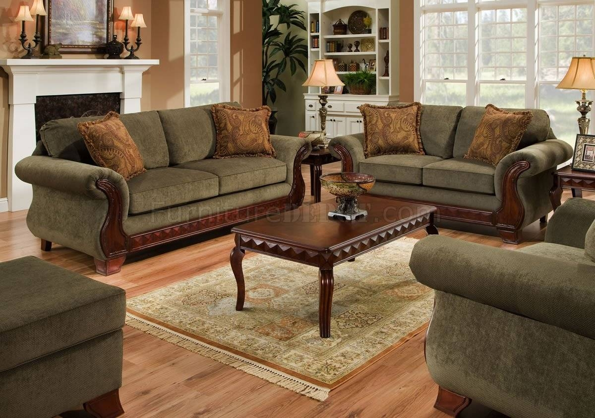 Green Fabric Traditional Sofa & Loveseat Set W/carved Wood Legs throughout Traditional Fabric Sofas (Image 13 of 30)