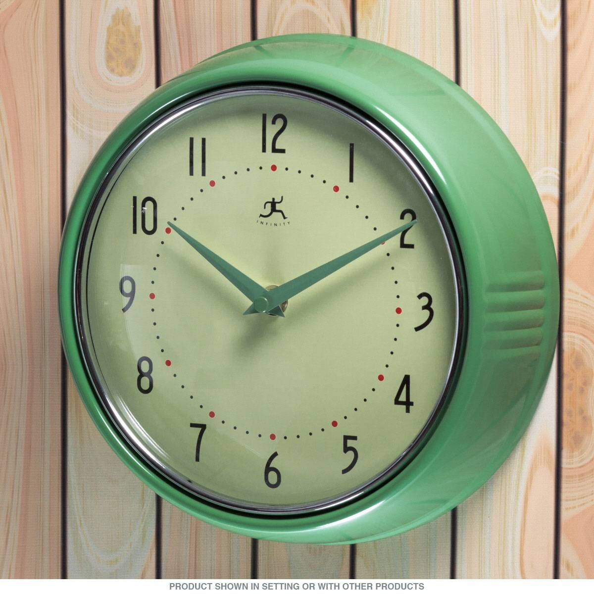 Green Fifties-Style Kitchen Wall Clock | Infinity Wall Clocks with regard to Retro Wall Mirrors (Image 16 of 25)