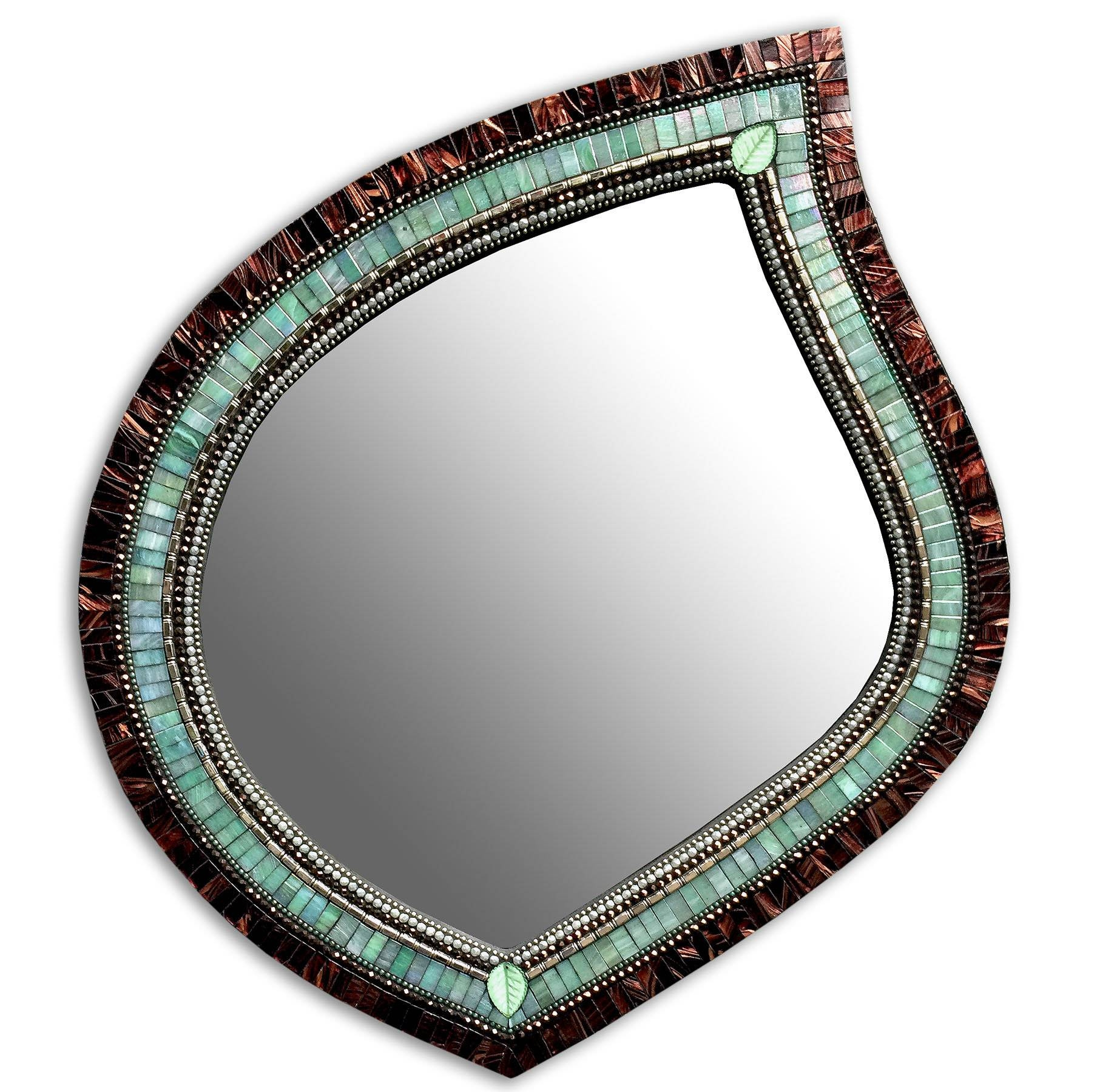 Green Tea Leaf Mirrorangie Heinrich (Mosaic Mirror) | Artful Home inside Mosaic Mirrors (Image 8 of 25)