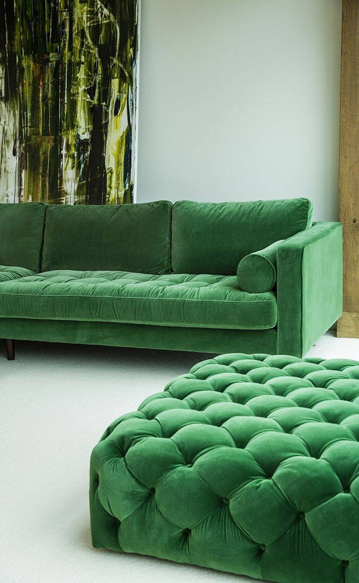 Green Velvet Left Sectional - Tufted | Article Sven Modern for Velvet Sofas Sectionals (Image 15 of 25)