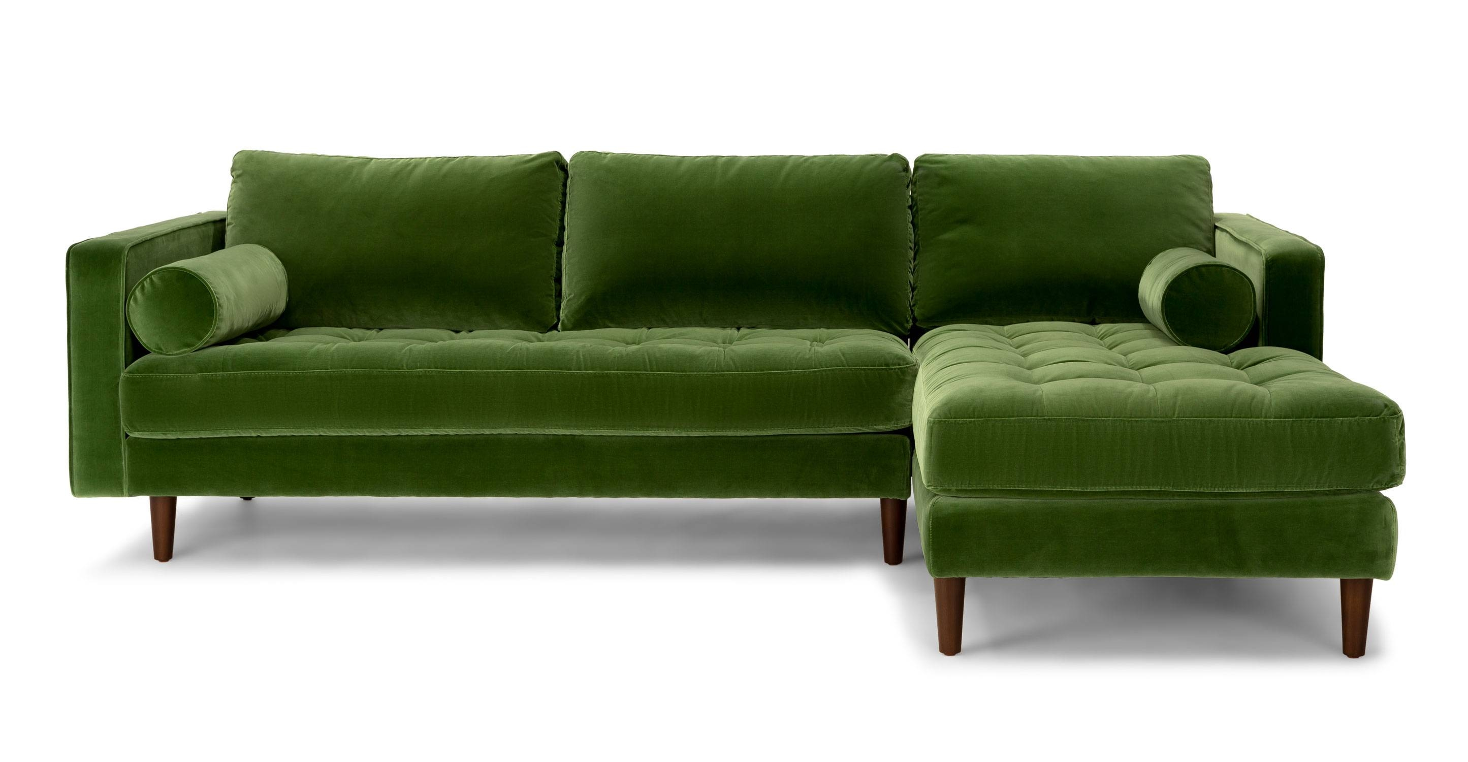 Green Velvet Sectional Sofa | Tehranmix Decoration inside Modern Sofas Sectionals (Image 11 of 30)