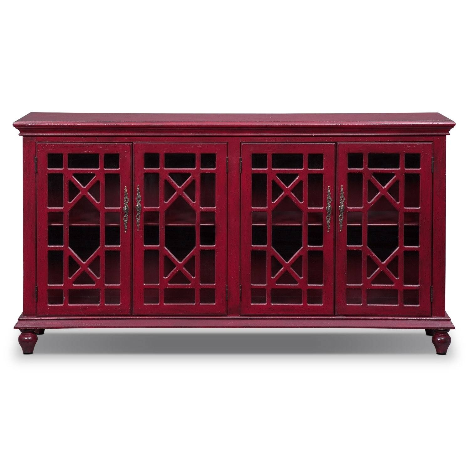 Grenoble Media Credenza - Red | Value City Furniture for Red Sideboards (Image 11 of 30)