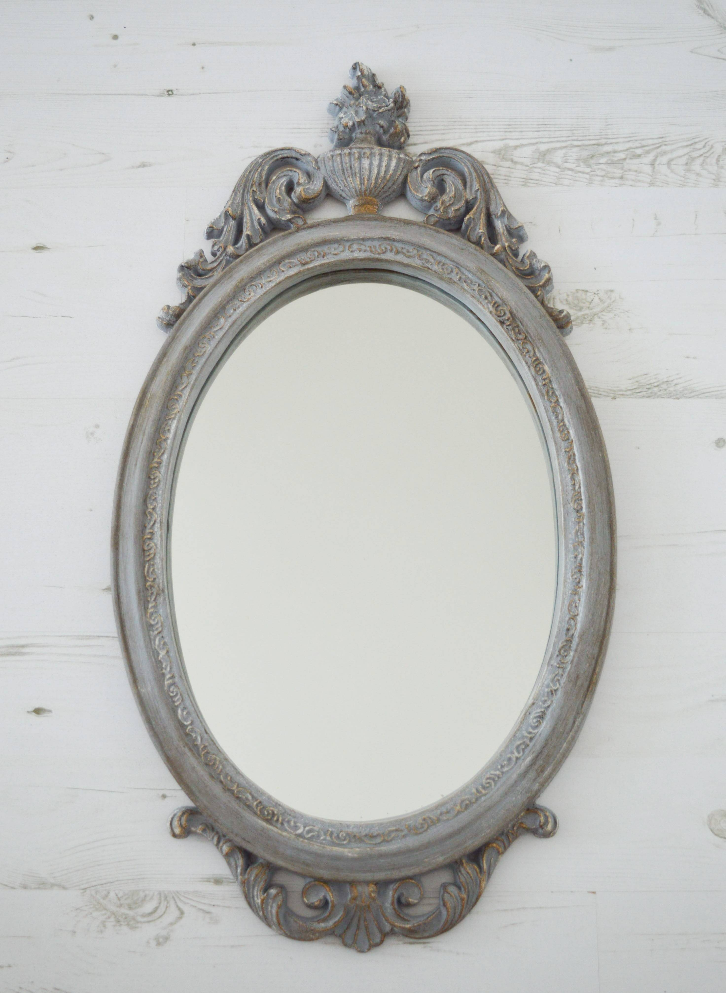 Grey Antique Mirror Classic French Mirror Ornate Mirror Circa Regarding Black Shabby Chic Mirrors (View 7 of 25)