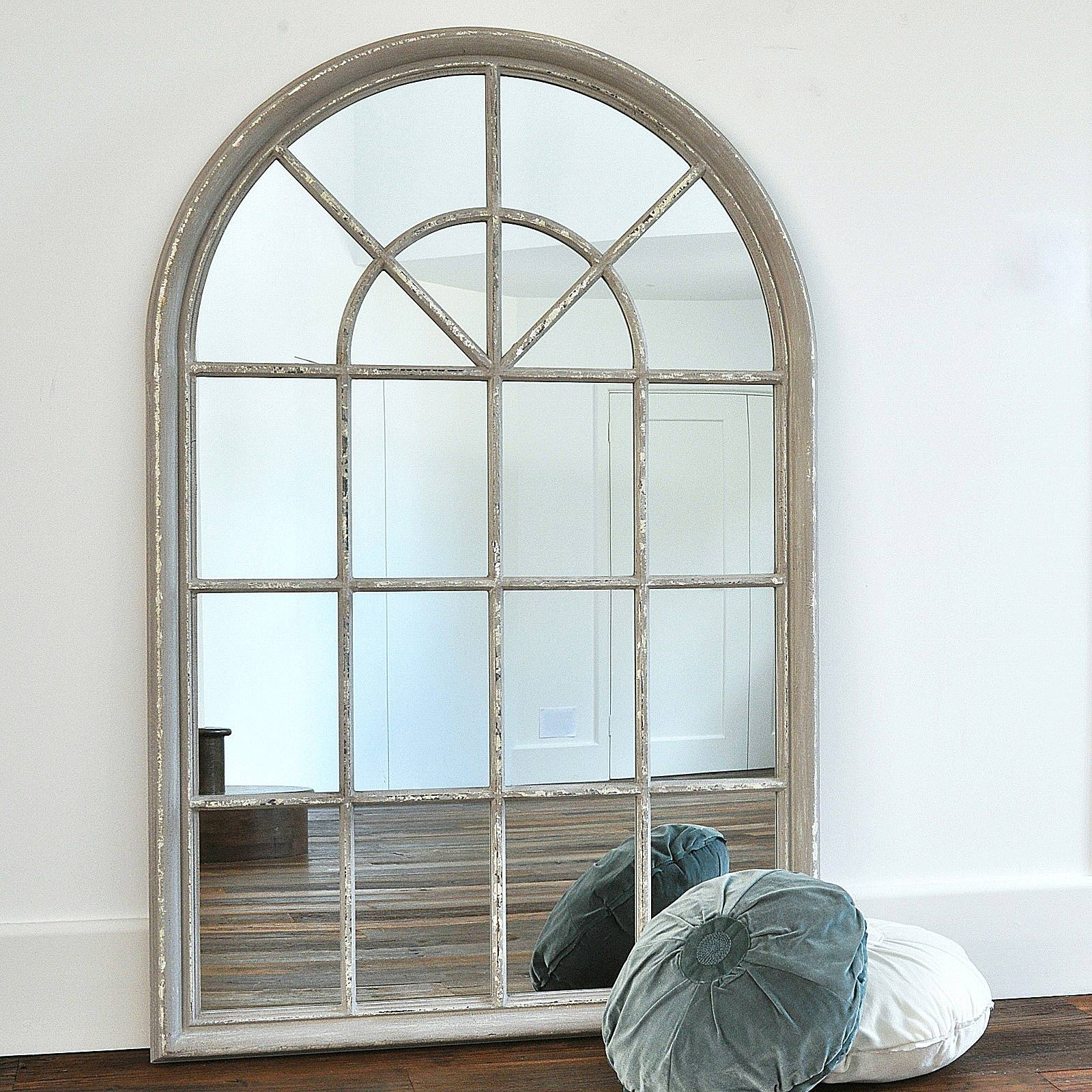 Grey Arched Window Mirror – Primrose & Plum regarding Arched Window Mirrors (Image 15 of 25)