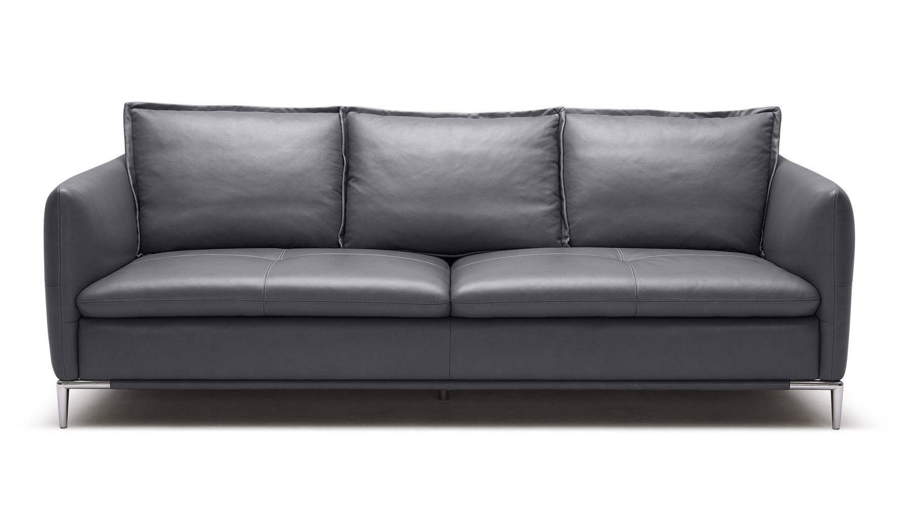 Grey Bristol Leather Sofa Set With Loveseat And Chair | Zuri Furniture for Bristol Sofas (Image 10 of 30)