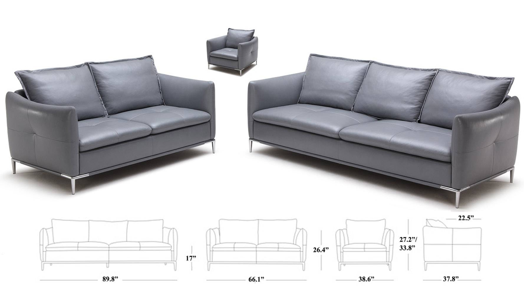 Grey Bristol Leather Sofa Set With Loveseat And Chair | Zuri Furniture within Bristol Sofas (Image 11 of 30)