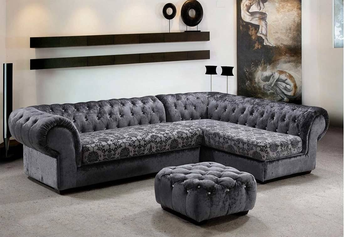 Grey Dream Micro Fiber Sectional Sofa & Ottoman | Fabric Sectional with Gothic Sofas (Image 26 of 30)