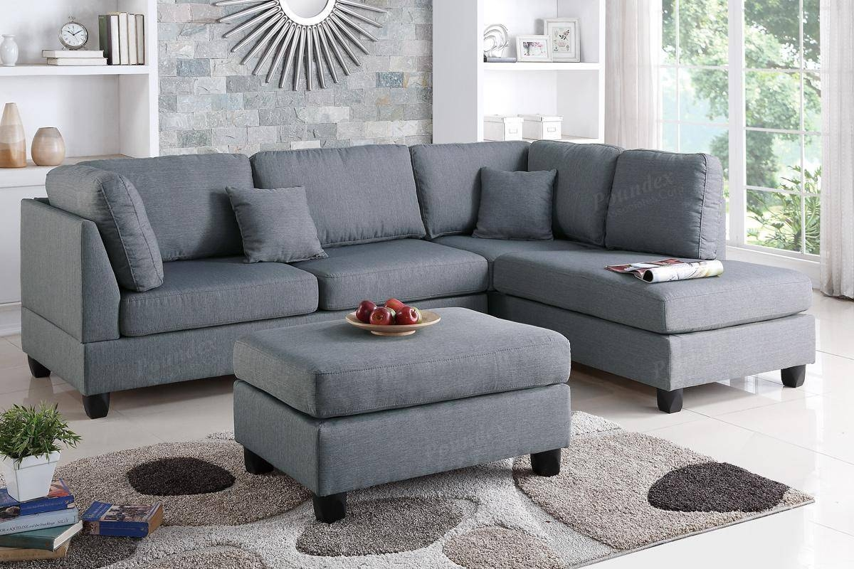Grey Fabric Sectional Sofa And Ottoman - Steal-A-Sofa Furniture throughout Fabric Sectional Sofa (Image 14 of 30)