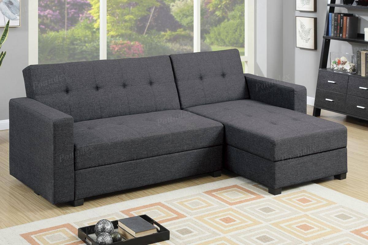 Grey Fabric Sectional Sofa Bed – Steal A Sofa Furniture Outlet Los With Regard To Sectional Sofa Bed With Storage (View 10 of 25)