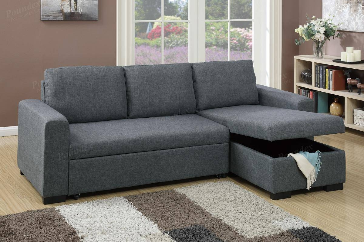 Grey Fabric Sectional Sofa Bed - Steal-A-Sofa Furniture Outlet Los within Sectional Sofa Beds (Image 5 of 30)