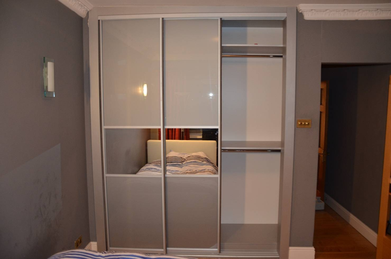 Grey Glass & Mirror Strips Sliding Doors Closet, Richmond Tw10 with Richmond Wardrobes (Image 3 of 15)