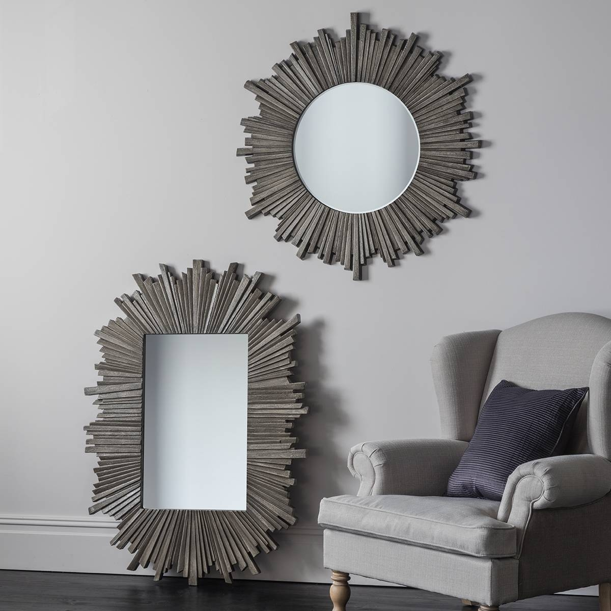 Grey Large Round Sunburst Mirror 91Cm Grey Round Sunburst Mirror in Extra Large Sunburst Mirrors (Image 12 of 25)