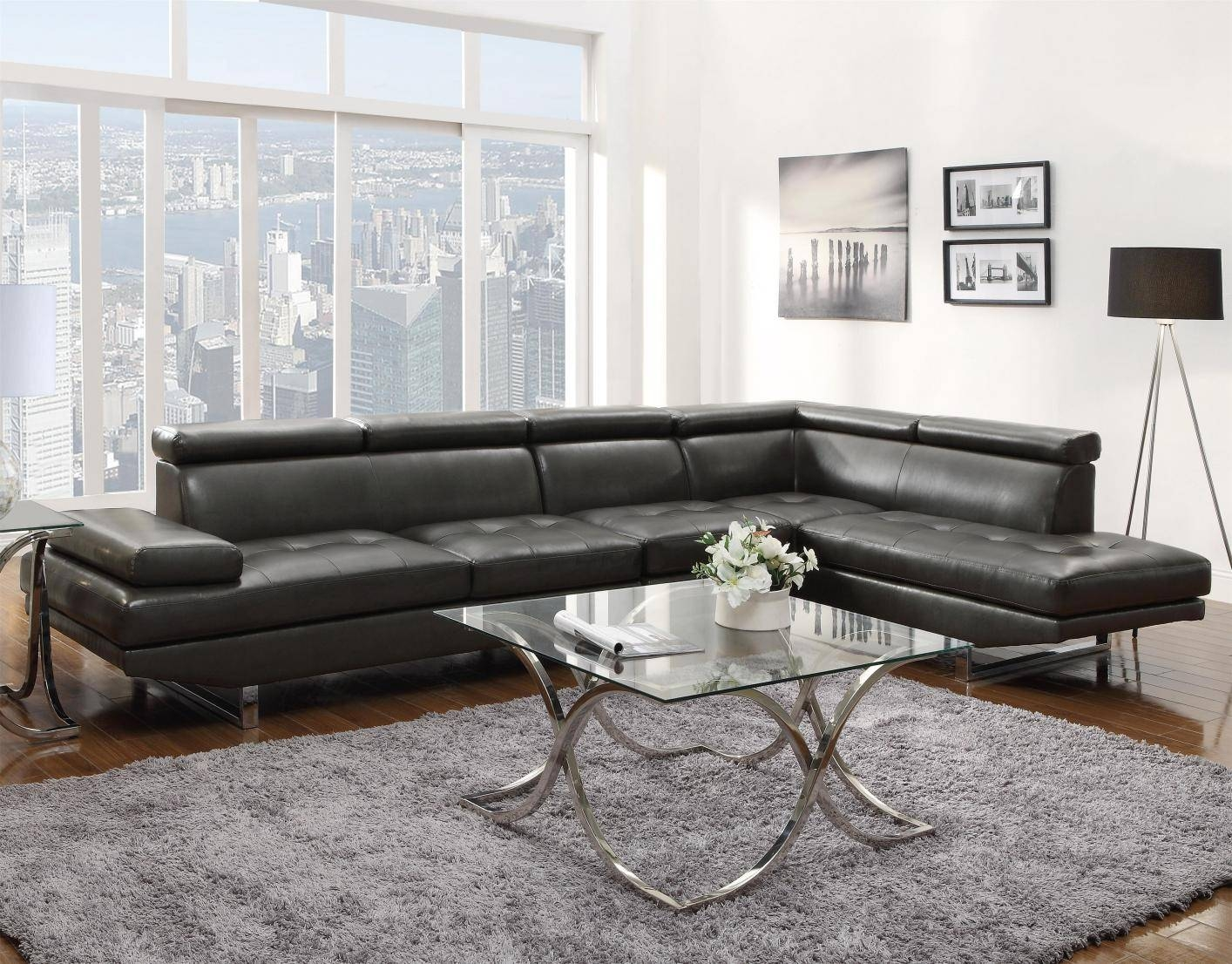 Grey Leather Sectional Sofa - Steal-A-Sofa Furniture Outlet Los intended for Gray Leather Sectional Sofas (Image 17 of 30)