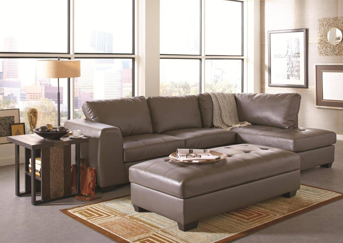Grey Leather Sectional Sofa - Steal-A-Sofa Furniture Outlet Los with regard to Gray Leather Sectional Sofas (Image 18 of 30)